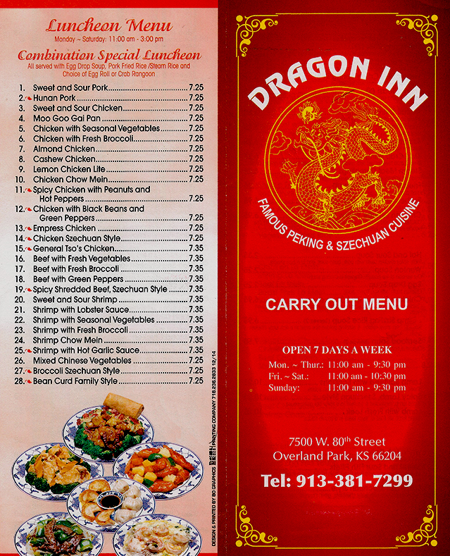 Carry out menu page 4 for Carryout menu